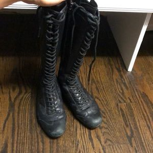 PRADA Black Leather Lace-up zip Boots size 39